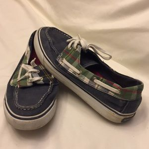 Sperry Topsiders 8 Denim & Plaid Boat Shoes